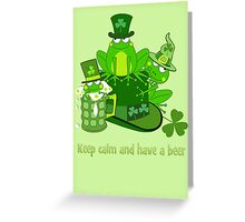 Funny St Patrick's day frogs, shamrocks, beer & text Greeting Card