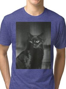 Portrait of black cat square black and white analogue medium format film Hasselblad  photograph Tri-blend T-Shirt