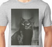 Portrait of black cat square black and white analogue medium format film Hasselblad  photograph Unisex T-Shirt