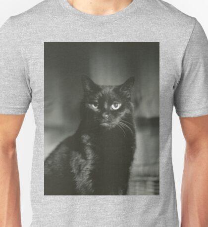 Portrait of black cat square black and white analogue medium format film Hasselblad  photograph Unisex T-Shirt