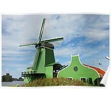 Green Dutch Windmill Poster