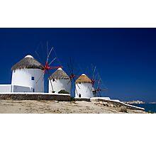 Mykonos windmills, Greece Photographic Print