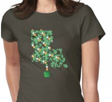 Louisiana State Wrapped in St. Patty Beads Womens Fitted T-Shirt