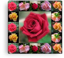 Dreamy Roses Collage Canvas Print