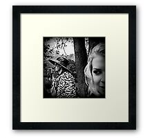 Girl in a Barrel Framed Print