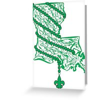 Louisiana State Wrapped in Green Beads Greeting Card