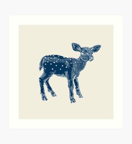 Dear Deer Indigo on Vanilla Art Print