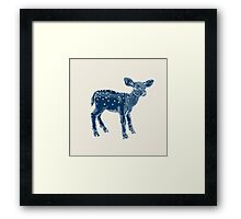 Dear Deer Indigo on Vanilla Framed Print