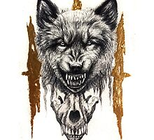 III - Angry Wolf with Wolf Skull by DanielleTrudeau