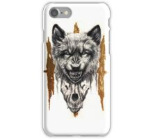 III - Angry Wolf with Wolf Skull iPhone Case/Skin