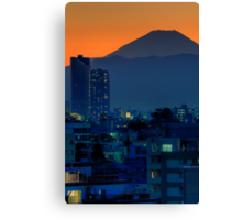 Mount Fuji at sunset; Omori, Shinagawa-ku, Tokyo Canvas Print