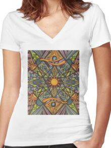 Third Eye Sunshine  Women's Fitted V-Neck T-Shirt