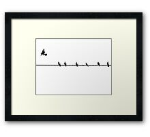 7 birds on a wire... Framed Print