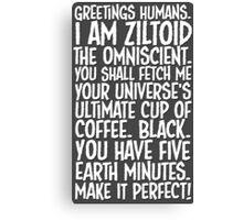 Greetings Humans! White Canvas Print