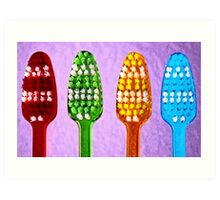 Bright Toothbrushes Art Print