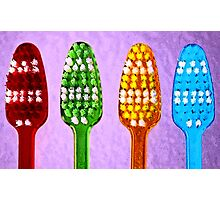 Bright Toothbrushes Photographic Print