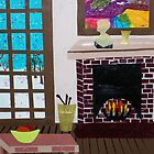 Fireside Fantasy  16x22 print of an orignial Paper Scene by Alice by PaperScenesbyAl