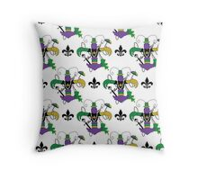 Mardi Gras Crawfish Fleur de Lis Pattern Throw Pillow