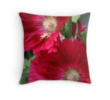 Red Hollyhocks Throw Pillow
