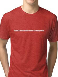 Pee-Wee Herman - Crappy Bike - White Font Tri-blend T-Shirt