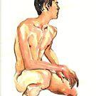 Boy crouching  by Arzeian