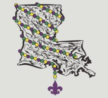 Louisiana State Wrapped in Mardi Gras Beads T-Shirt