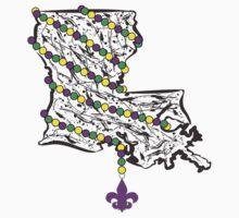 Louisiana State Wrapped in Mardi Gras Beads Kids Tee