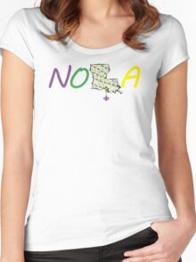 NOLA mardi gras beads Women's Fitted Scoop T-Shirt