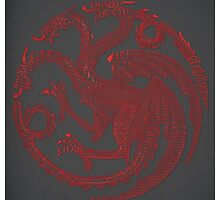Targaryen Game of Thrones Typography by SkahfeeStudios