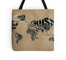 Typographic World Map Tote Bag