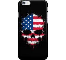 Chaotic American Flag Splatter Skull iPhone Case/Skin