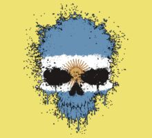 Chaotic Argentine Flag Splatter Skull One Piece - Short Sleeve