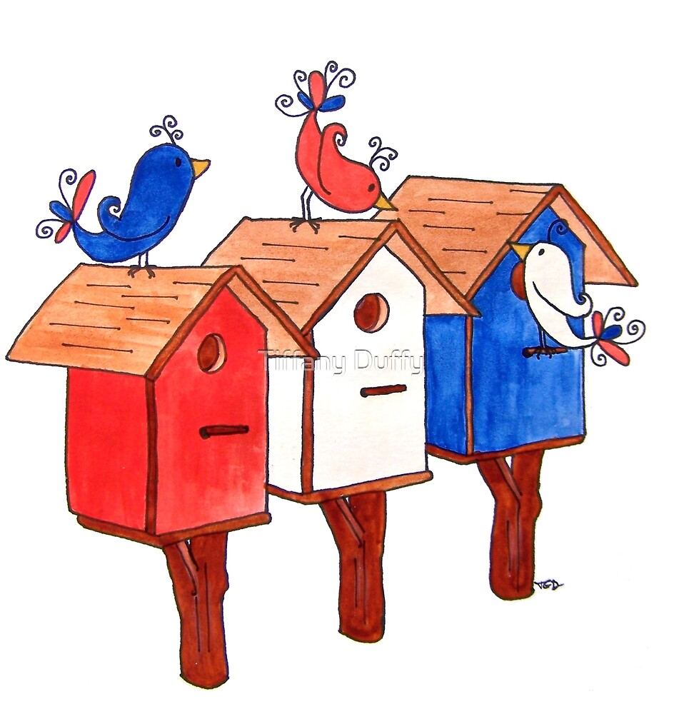 Red, White, and Blue Birds by tiffjamaica