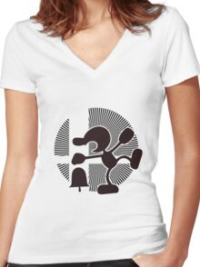 Mr. Game & Watch (Brawl) - Sunset Shores Women's Fitted V-Neck T-Shirt