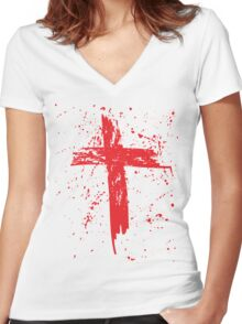 Red Grunge Cross with Red Splats Women's Fitted V-Neck T-Shirt