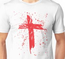 Red Grunge Cross with Red Splats Unisex T-Shirt
