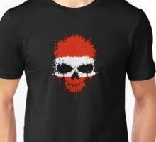 Chaotic Austrian Flag Splatter Skull Unisex T-Shirt