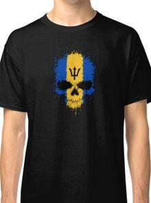 Chaotic Barbados Flag Splatter Skull Classic T-Shirt
