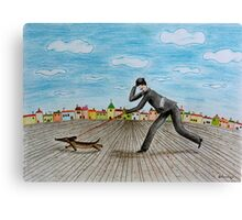 Walk with dog Canvas Print