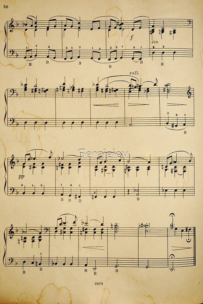 fragment with music  notes by Sergieiev