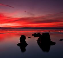 Sunset at Traeth Ogwr by Rob Funffinger