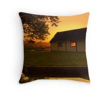 Sunset Through The Boat House Throw Pillow