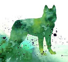 Siberian husky dog silhouette watercolor art print painting by Joanna Szmerdt