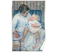 Mary Cassatt - Mother About to Wash Her Sleepy Child Poster