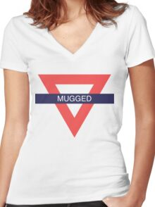 TℱL  [Mugged] Women's Fitted V-Neck T-Shirt