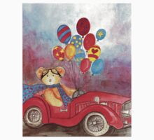TEDDYBEAR IN RED OLDTIMER SPORTS-CAR WITH BALLOONS - Watercolour-Design Kids Clothes
