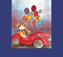 TEDDYBEAR IN RED OLDTIMER SPORTS-CAR WITH BALLOONS - Watercolour-Design Womens Fitted T-Shirt