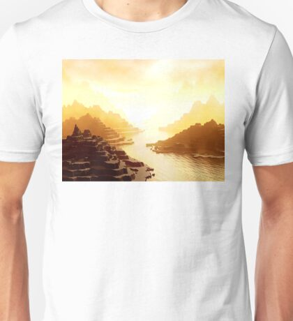 Mysterious Mountains Waterway Unisex T-Shirt
