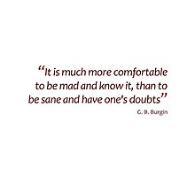 Mad and know it or sane and have doubts... (Amazing Sayings) by gshapley