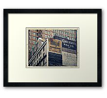 Handpainted mural advertisements of the 1940s in Manhattan, NYC - Kodachrome Postcard  Framed Print
